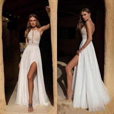 Vestido de novia simple de verano bohemio de gasa con abertura alta en blanco y halter_3