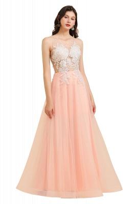 Apliques de encaje de cuello redondo simple Vestido de noche rosado de una línea_1