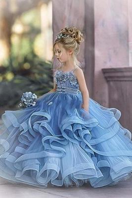 Robes de demoiselle d'honneur princesse sans bretelles mignonnes volants bleu poussiéreux_4