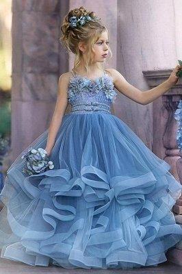 Robes de demoiselle d'honneur princesse sans bretelles mignonnes volants bleu poussiéreux_2