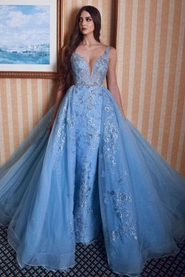 Stylish Double V-Neck Mermaid Prom Dress Lace Appliques Detachable Train