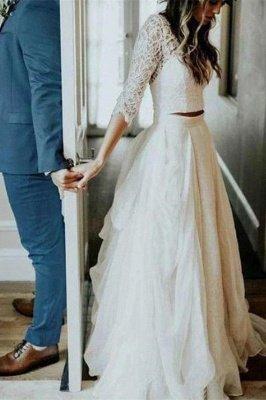 بوهو قطعتين الدانتيل الأكمام الصيف شاطئ فستان الزفاف_2