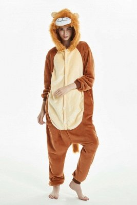 Cool Brown And Yellow Sleepwear Splicing Flannel The Lion King Women Winter Kigurumi Home Clothes