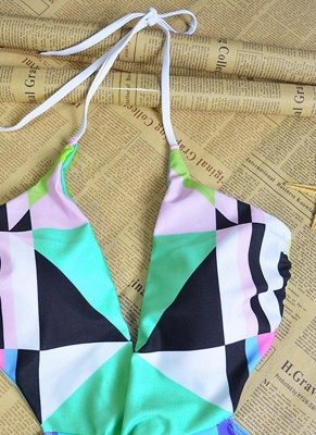 Sexy Women Halter One Piece Swimsuit Geometric Print Deep V-Neck Backless Cutout Bikini Swimwear Swimsuit_5