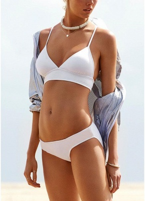 Sexy Women Strappy Bikini Set Deep V-Neck Tie Back Low Waist Swimwear Swimsuit Beach Bathing Suit White_4
