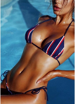 Halter Push Up Striped Tie Waist Padded Women Bikini Set_3