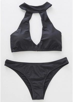 Women Halter Bikini Set Cut Out Swimsuit_3