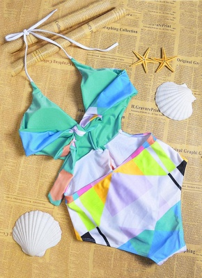 Sexy Women Halter One Piece Swimsuit Geometric Print Deep V-Neck Backless Cutout Bikini Swimwear Swimsuit_4