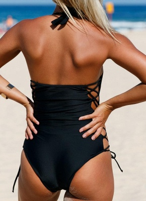 Halter Lace Up Waist Backless One Piece Swimsuit_5