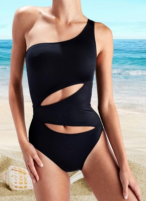One Shoulder Cut Out Sleeveless Padded Wireless One-Piece Swimwear_2
