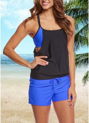 Color Block Padded Vest Bottom Tankini Set