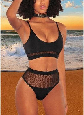 Women Bikini Swimwear Fishnet High Waist Wireless Bathing Suit Swimsuits Two-Piece