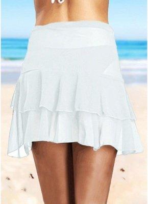 Sheer Mesh Ruffles Solid Color Bikini Skirt_3