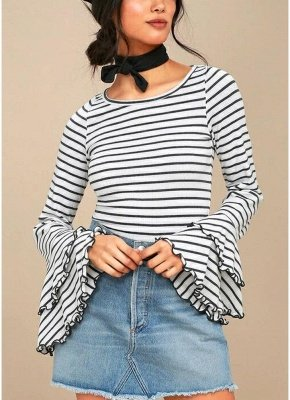 Femmes Stripe T-shirt Flare manches col rond Tops Blouse