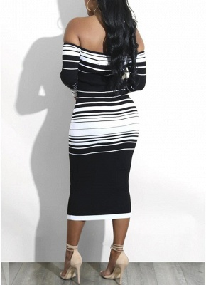 Striped Off The Shoulder Long Sleeve Party Club Tube Midi Dress_5