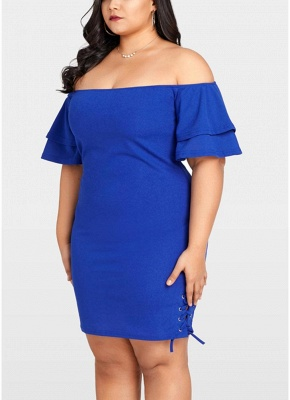 2xl Plus Size Solid Off the Shoulder Layer Sleeve Lace Up Dress_6