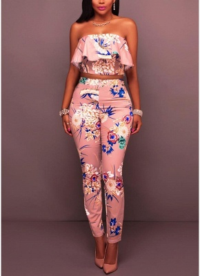 Floral Print Ruffle Off the Shoulder Backless Fashion Women Two Piece Set_1