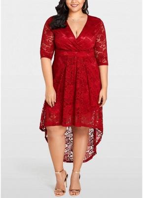 4f096a090 Women Plus Size Lace Dress Cross Front High-Low Hem Party Midi Dresses