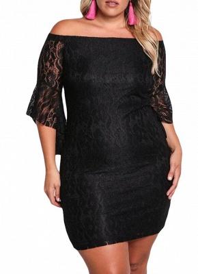 Lace Dress Plus Size Off Shoulder Bodycon Mini Dress Oversize Party Clubwear_2