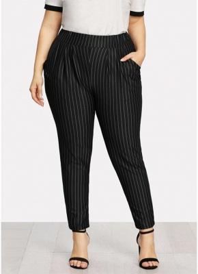 Plus Size Striped Print Hohe Taille Tasche OL Hosen_3
