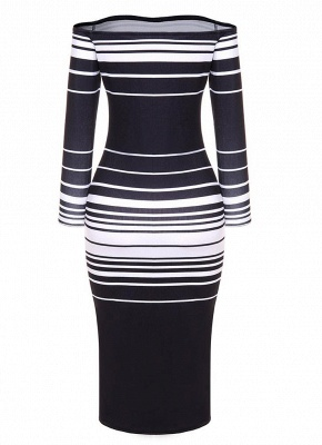Striped Off The Shoulder Long Sleeve Party Club Tube Midi Dress_6