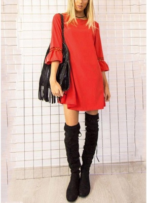 Fashion Women Mini Dress O Neck 3/4 Flare Sleeve Hollow Out Solid Color Casual Party Dress_1