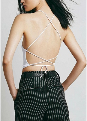 Sexy Solid Color Lace Up Backless Halter Crop Cami Bralette_7