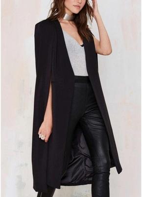 Autumn Women Long Cloak Blazer Coat Cape Cardigan Jacket Slim Office OL Suit Casual Solid Outerwear_6