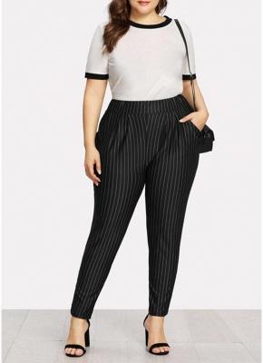 Plus Size Striped Print Hohe Taille Tasche OL Hosen_1