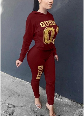 Women Tracksuit Set Letter Print Hoodie & Pants Sweat Suits Casual Two Piece_2