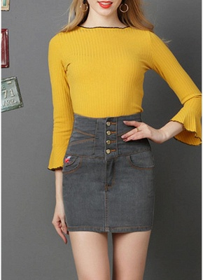 Denim High Waist Embroidery Button Solid Slim Bodycon Mini Skirt_5