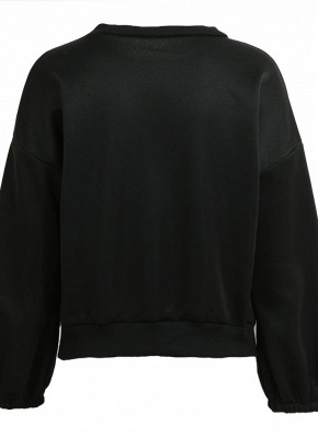 Women Loose Fleece Lace Up Bandage Cuff Round Neck Long Sleeve Casual Sweatershirt_5