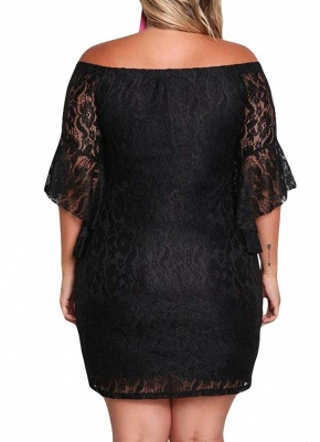 Lace Dress Plus Size Off Shoulder Bodycon Mini Dress Oversize Party Clubwear_4