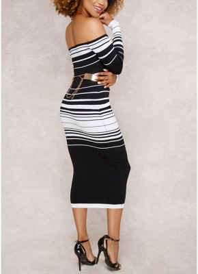 Striped Off The Shoulder Long Sleeve Party Club Tube Midi Dress_4