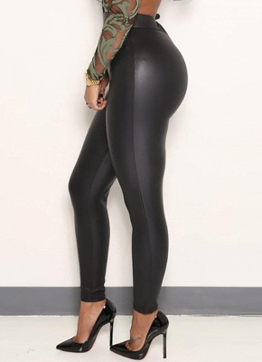 Sexy Women Pu Wet Look Faux Leather Stretchy Leggings Elastic Waist High Rise Skinny Pants_4