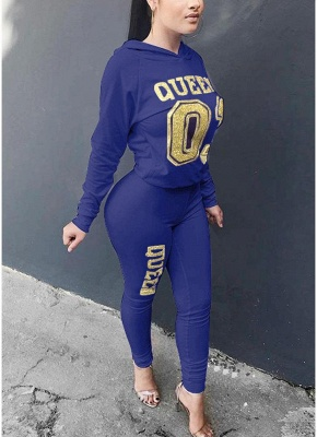 Women Tracksuit Set Letter Print Hoodie & Pants Sweat Suits Casual Two Piece_4