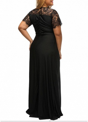 Plus Size Solid Lace Splice Ruched V-Neck Party Maxi Dress_3