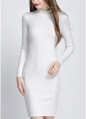 O-Neck Long Sleeves Stretchy Elegant Slim Women's Knitted Dress_1
