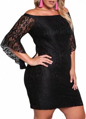 Lace Dress Plus Size Off Shoulder Bodycon Mini Dress Oversize Party Clubwear_5