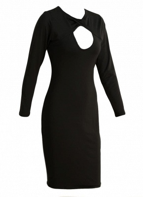 Sexy Cut Out V Neck Long Sleeve Bodycon Midi Dress_6