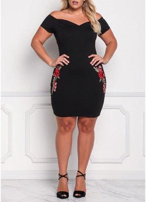 Sexy Sommer Sexy Schulterfrei Bodycon Frauen Plus Size Kleid_1