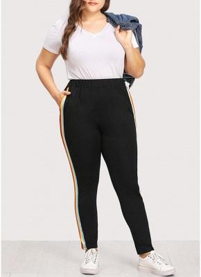 Plus Size Bunte Streifen Hohe Taille Tasche Slim Strumpfhosen Leggings_1