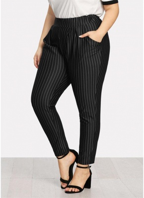 Plus Size Striped Print Hohe Taille Tasche OL Hosen_5