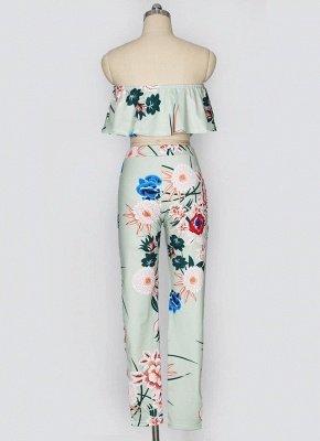 Plissado de impressão floral fora o ombro Backless moda feminina conjunto de duas peças_6
