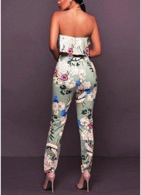 Plissado de impressão floral fora o ombro Backless moda feminina conjunto de duas peças_4