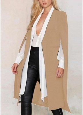 Automne Femmes Manteau Long Blazer Manteau Cape Cardigan Veste Bureau Slim OL Costume Casual Solide_2
