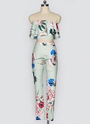 Plissado de impressão floral fora o ombro Backless moda feminina conjunto de duas peças_5