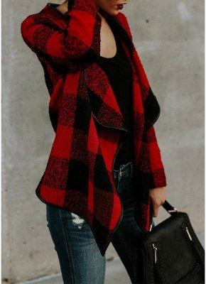 Mode Frauen Langarm Plaid Reverskragen Casual unregelmäßige Jacke_5