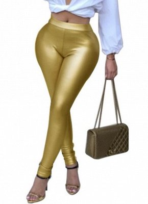 Shiny Metallic Color Elastic Waist Skinny Sexy Pencil Pants_1