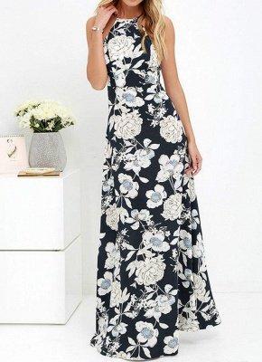 Sommer-Neckholder-Blumendruck-Sleeveless Maxi-Kleid der Frauen_2